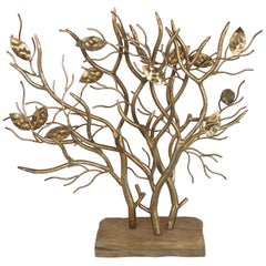 Large Brutalist Italian Gilt Metal Tree Form Sculpture