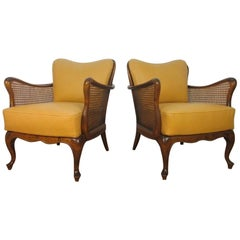 Italian Hand-Caned Leather Armchairs in the Style of Paolo Buffa