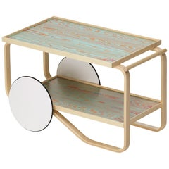 Artek Tea Trolley 901 ColoRing in Red & Turquoise by Alvar Aalto and Jo Nagasaka