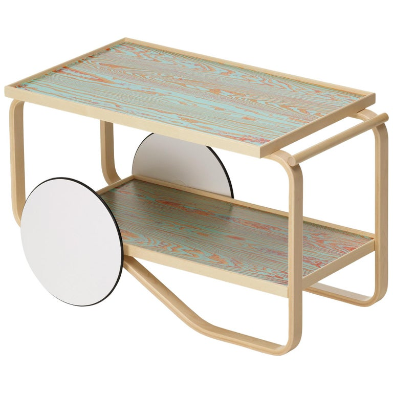 Artek Tea Trolley 901 ColoRing in Red & Turquoise by Alvar Aalto and Jo Nagasaka For Sale