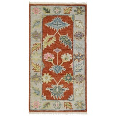 New Contemporary Colorful Oushak Accent Rug for Entryway, Foyer, or Kitchen