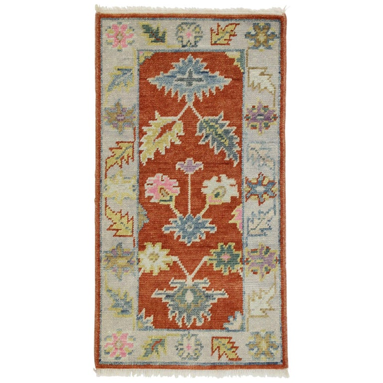 New Contemporary Colorful Oushak Accent Rug For Entryway
