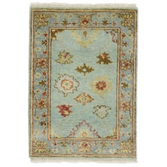 New Contemporary Oushak Accent Rug with Eclectic Coastal Boho Style