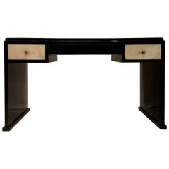 Puristic Art Deco Desk in Black High Gloss Piano Lacquer and Parchment Drawers