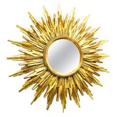 Beautiful Gilded Starburst Sunburst Mirror circa 1980s Made in Belgium
