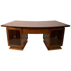 Curved Art Deco Desk in in Real Wood Veneer with Inlays