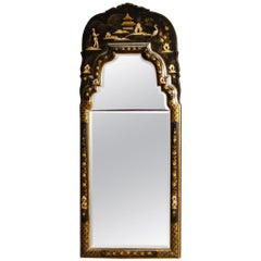 20th Century Black Lacquered and Painted Chinoiserie Wood French Mirror, 1960