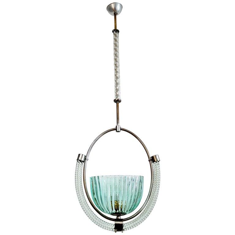 Italian Art Deco Murano Glass and Brass Pendant Light, 1940