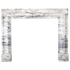 Baroque Bolection Fireplace Mantle in Italian Pavonazzo Marble