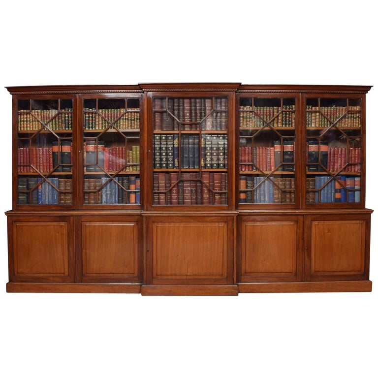 Mahogany Home Library Office: Mahogany Dwarf Breakfront Library Bookcase For Sale At 1stdibs