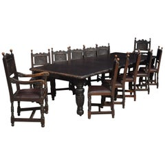 Carved Oak Dining Table and Chairs