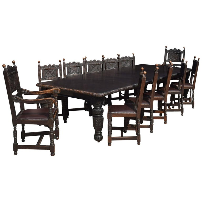 Dining Table And Chairs For Sale: Carved Oak Dining Table And Chairs For Sale At 1stdibs