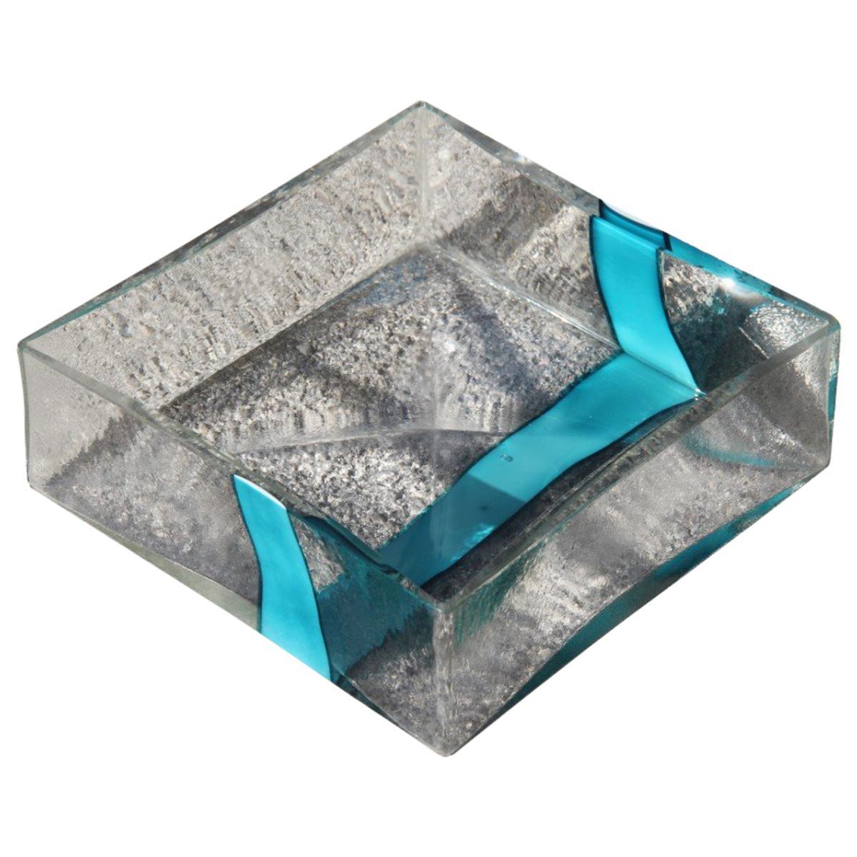 Pierre Cardin for Venini 1970 Square Transparent Murano Bowl Light Blue Glass