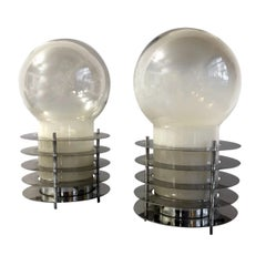 Pair of Mid-Century Murano Smoked Glass Chromed Discs Table Lamp, Italy, 1970s