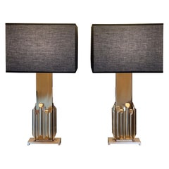 "1970's Pair of ""Fascination"" Brass Sculpture Table Lamps by Luciano Frigerio"