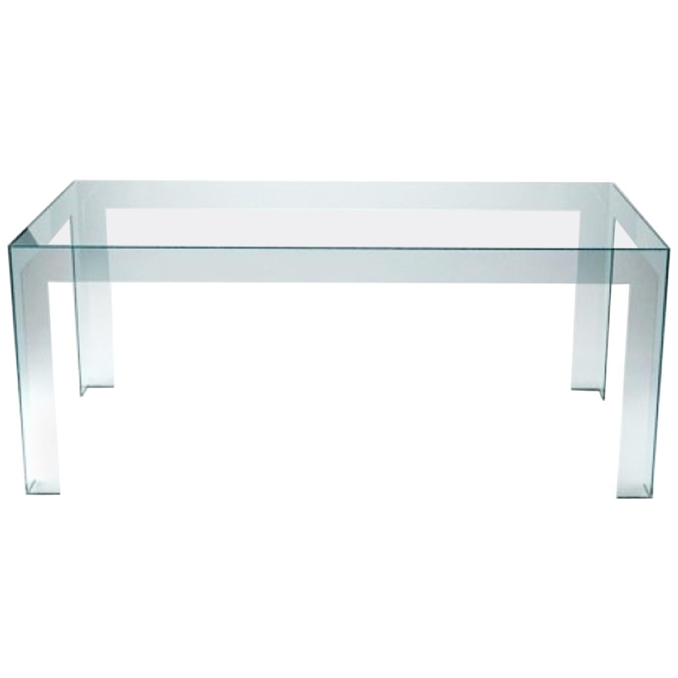 Italian Contemporary Design Clear Glass Dining Table in Minimal Style