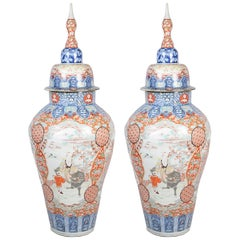 Large Pair of Lidded Imari 19th Century Vases