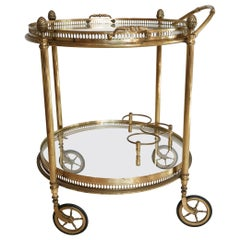 Maison  Baguès Gold-Plated Brass Drinks Cart with Removable Glass Serving Trays