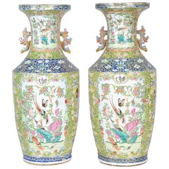 Pair of 19th Century Rose Medallion, Canton Vases / Lamps