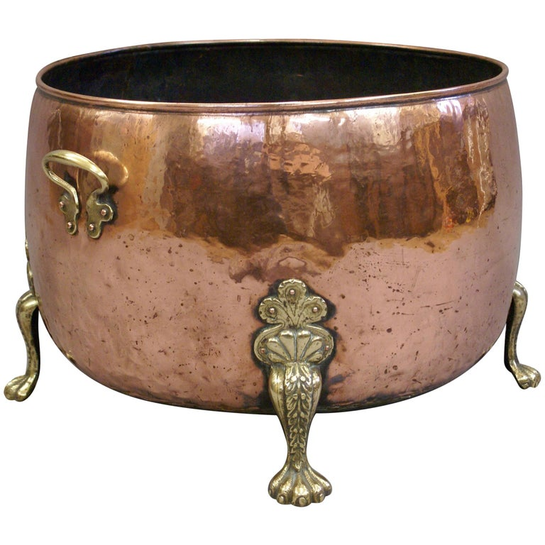 Large Mid-19th Century Circular Copper and Brass Log Bin