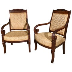 Pair of 19th Century French Empire Armchairs Fully Reupholstered