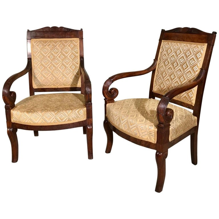 Pair of 19th Century French Empire Armchairs Fully Reupholstered For Sale