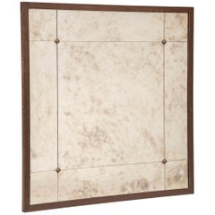 Pescetta Custom Industrial Style Paneled Iron Frame Aged Effect Glass Mirror