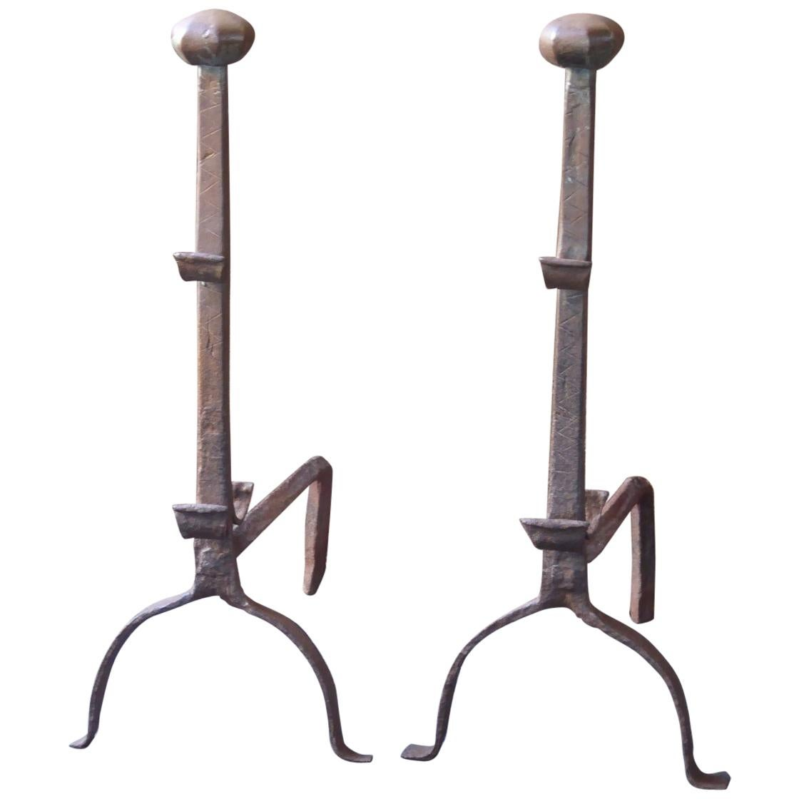 17th Century French Gothic Andirons or Firedogs