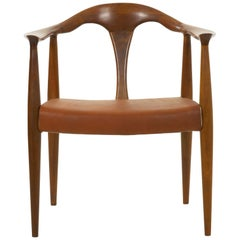 Mid-Century Modern Sculpted Walnut Lounge Arm Chair with Leather Covering