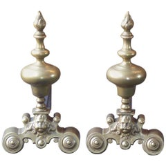 French Louis XIV Style Andirons or Firedogs