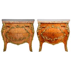 Pair of 19th Century Marble Topped French Commodes