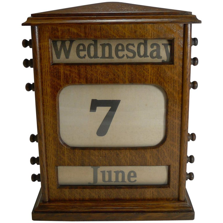 Large Antique English Oak Perpetual Desk Calendar, circa 1900 For Sale