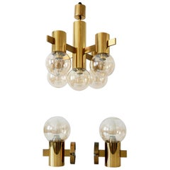 Set of Midcentury Sputnik Chandelier & Wall Lamps by Hans-Agne Jakobsson, 1960s