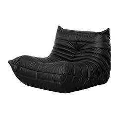 Michel Ducaroy Togo One-Seat Sofa in Black Leather for Ligne Roset, 1973