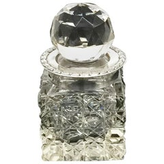 Small English Crystal and Silver Scent Bottle by Boots Pure Drug Company, 1908
