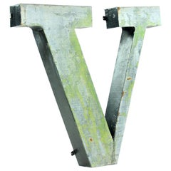 Large Metal V Letter Industrial Factory Sign, Czechoslovakia, circa 1960