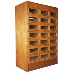 Vintage Oak Early 20th Century 21 Drawer Haberdashery Cabinet