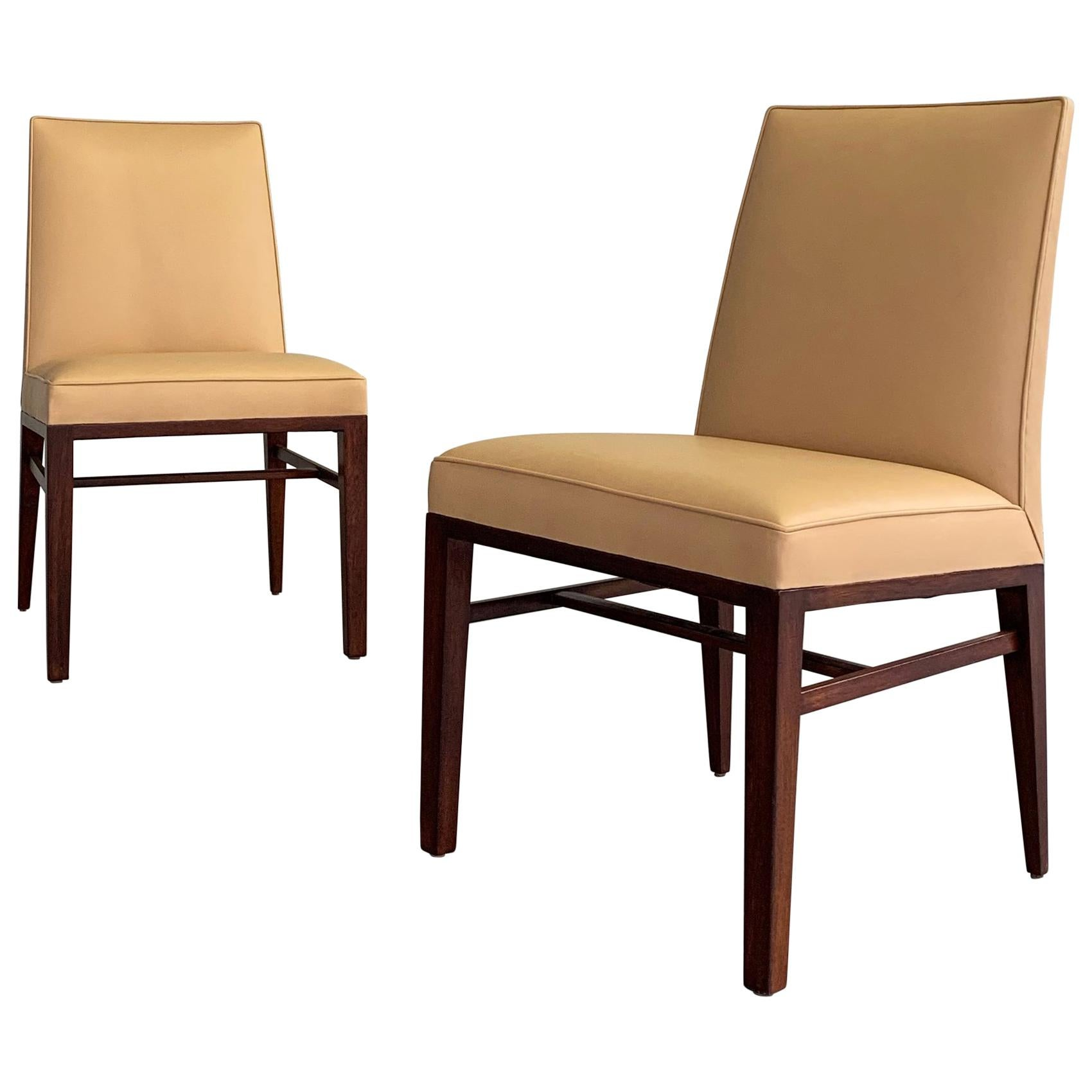 Pair of Edward Wormley for Dunbar Leather Slipper Side Chairs