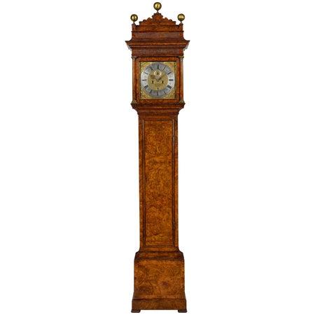 Queen Anne Burr Walnut Longcase Clock by Christopher Gould, London