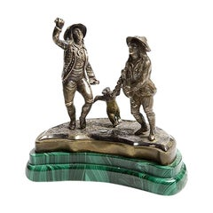 1890 Russia Silver and Malachite Sculpture Depicting a Dancing Bear