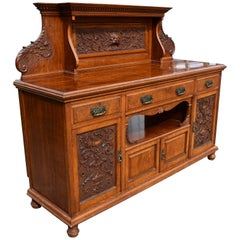 19th Century English Victorian Carved Pollard Oak Sideboard Buffet