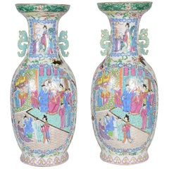 Large Pair of 19th Century Chinese Rose Medallion / Canton Vases