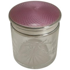 English Sterling Silver and Pink Guilloche Enamel Lidded Jar, 1927