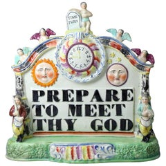 Staffordshire Pottery Pearlware Group with Bold Title Prepare to Meet Thy God