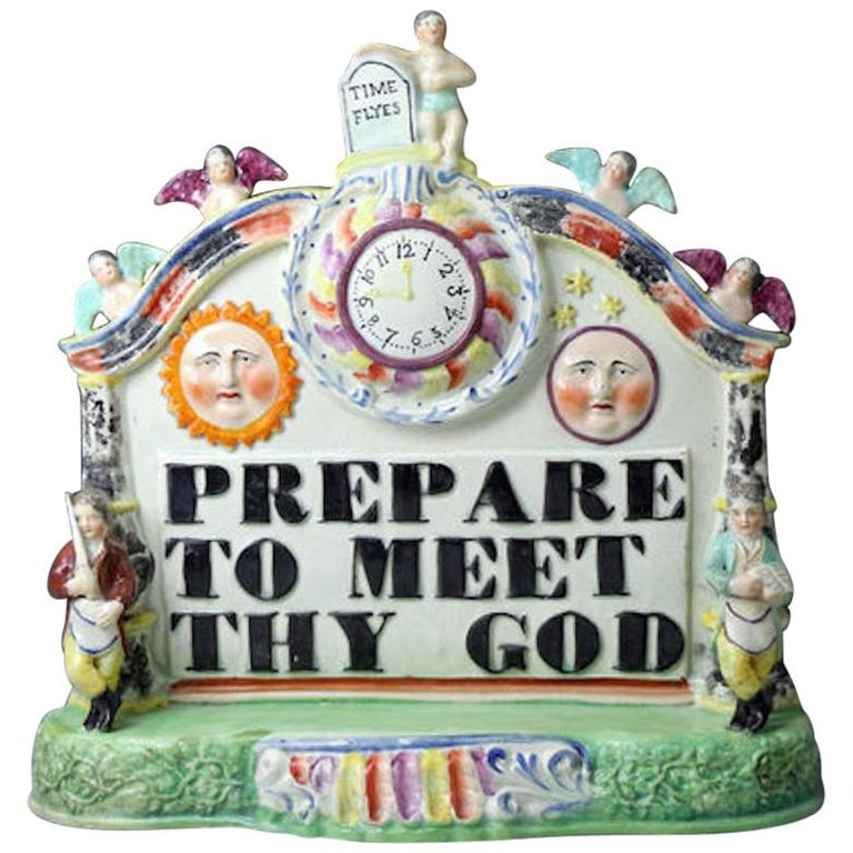 Staffordshire Pottery Pearlware Group with Bold Title Prepare to Meet Thy God For Sale