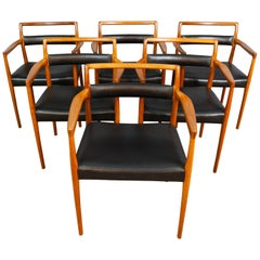 Set of 6 OD70 Kai Kristiansen Teak and Leather Carver Dining Chairs for Oddense
