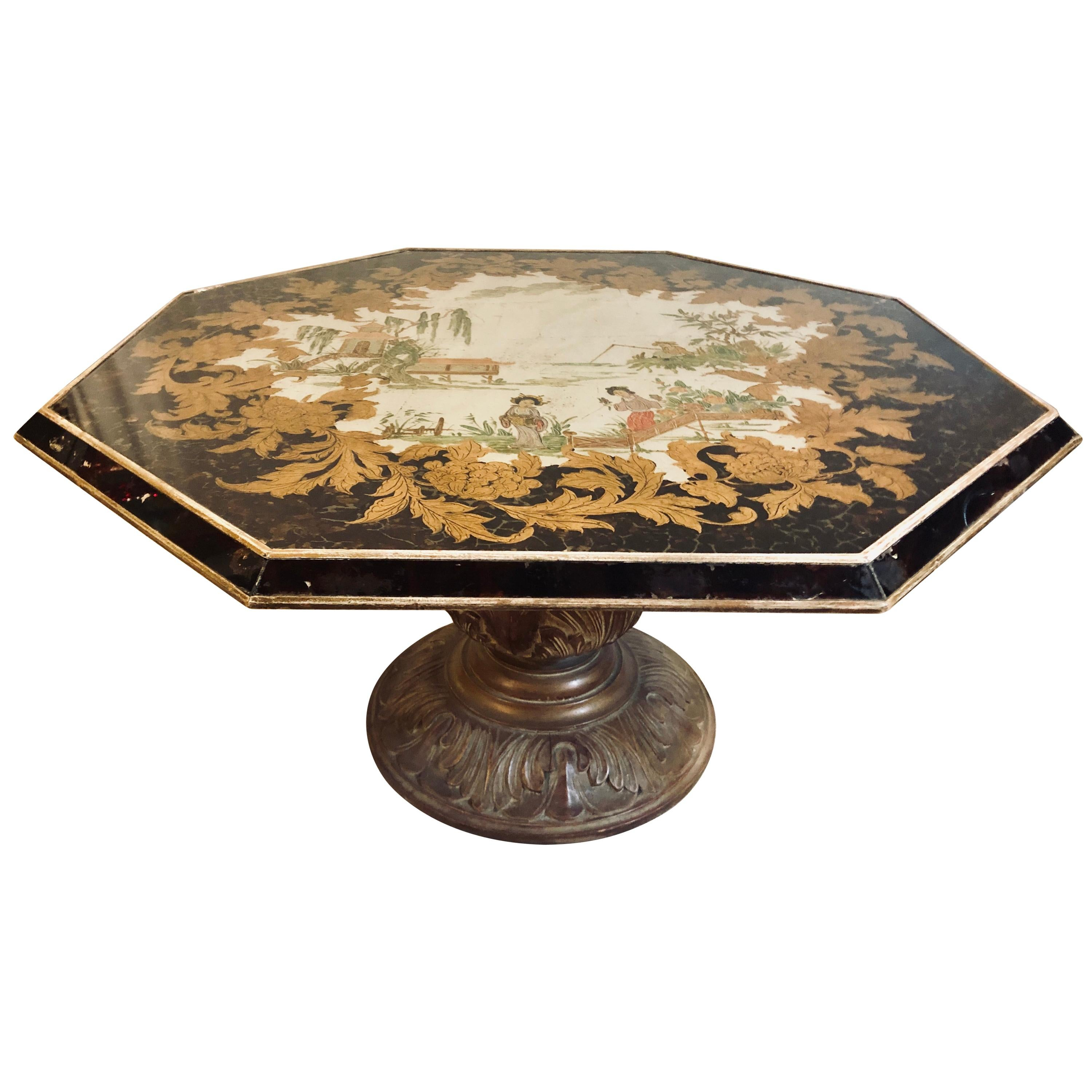 Octagon Chinoiserie Decorated Mirror Top Low Coffee Table with Carved Wood Base