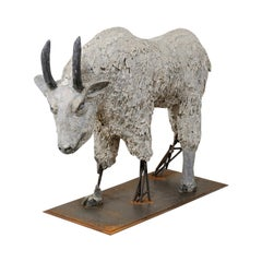 Impressive French Mountain Goat Statue, 3+ FT Tall