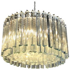 Italian Venini Transparent Massive Glass Rounded Chandelier, 1940s