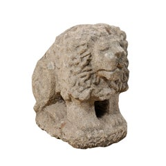 19th Century European Lion of Hand Carved Stone